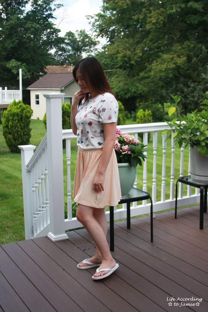Summer Graphic Tee + Peach Skater Skirt 1