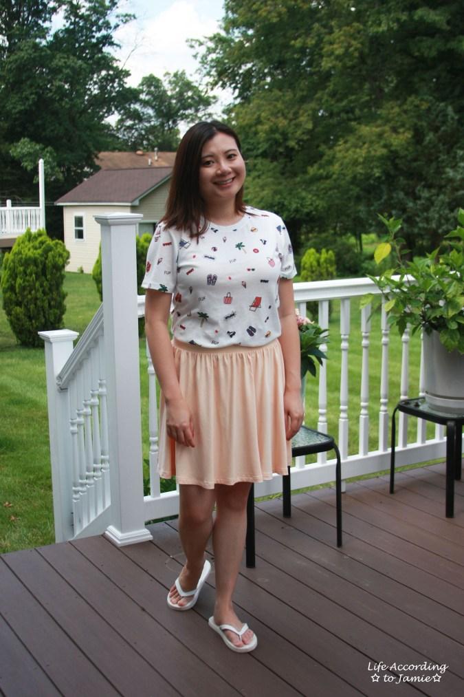 Summer Graphic Tee + Peach Skater Skirt 4