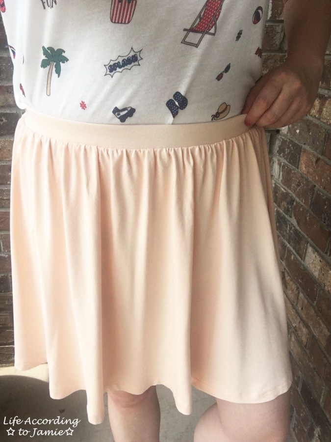 Summer Graphic Tee + Peach Skater Skirt 8
