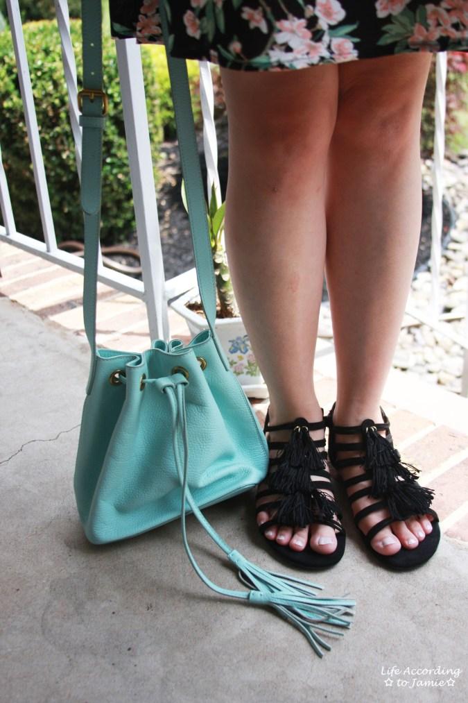 Tassel Sandals + Mint Bucket Bag