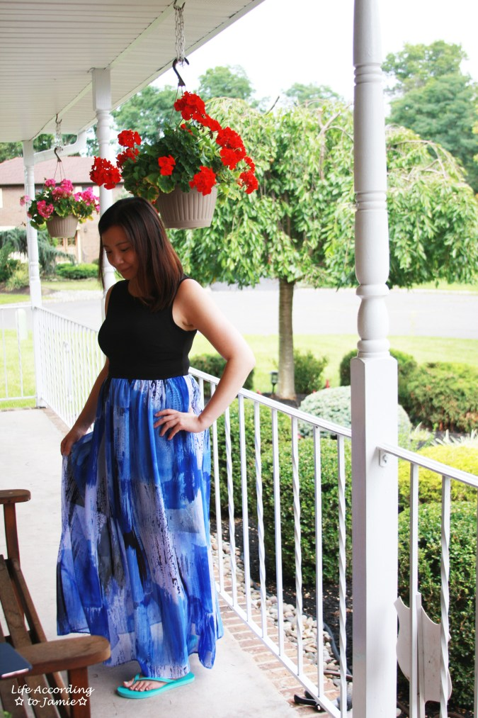 Abstract Blue Maxi Dress 1