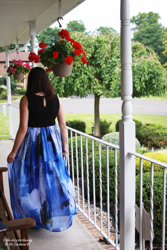 Abstract Blue Maxi Dress 2