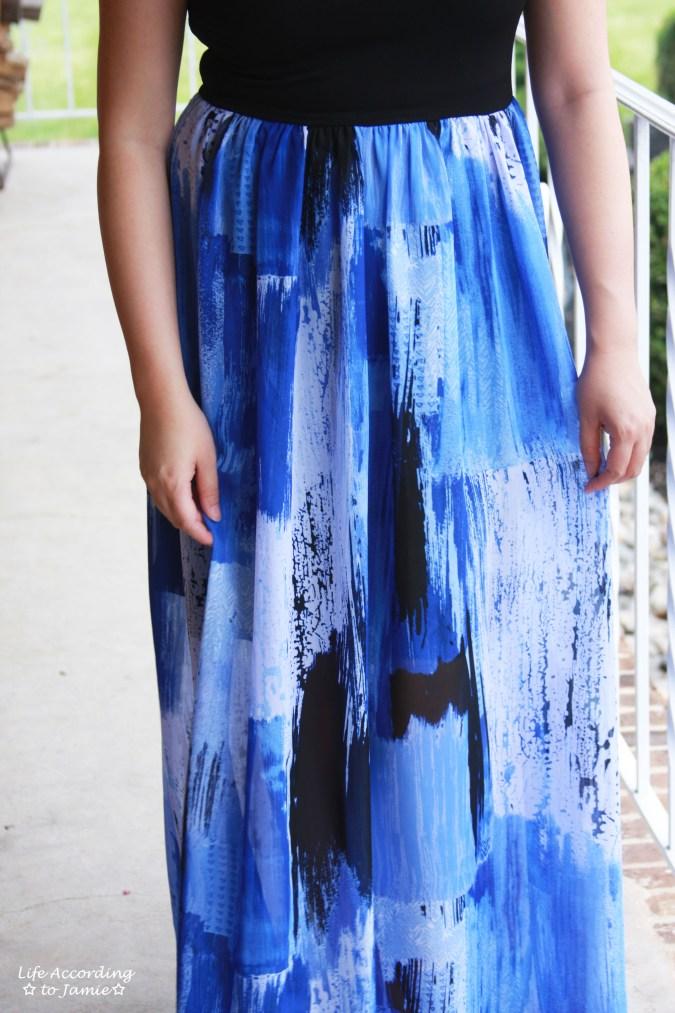 Abstract Blue Maxi Dress 8