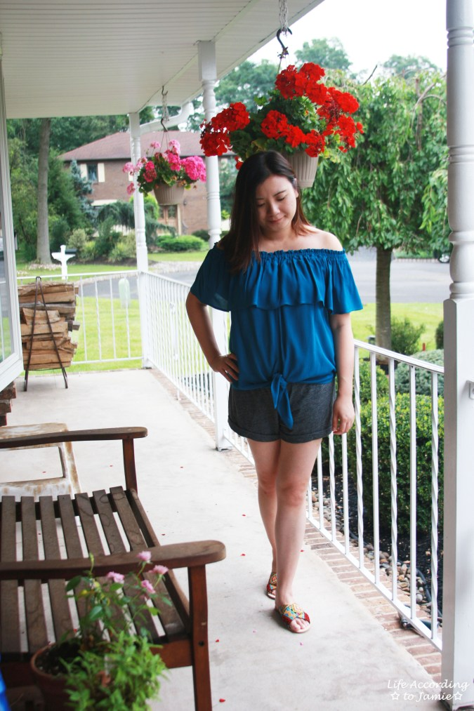 Ruffled Teal Front Tie Top 6