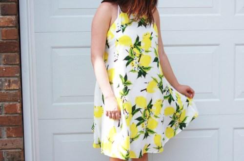 Strappy Lemon Print Dress