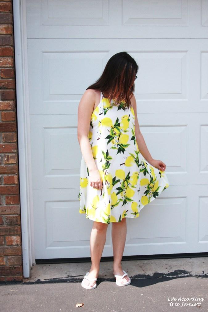 Strappy Lemon Print Dress 8