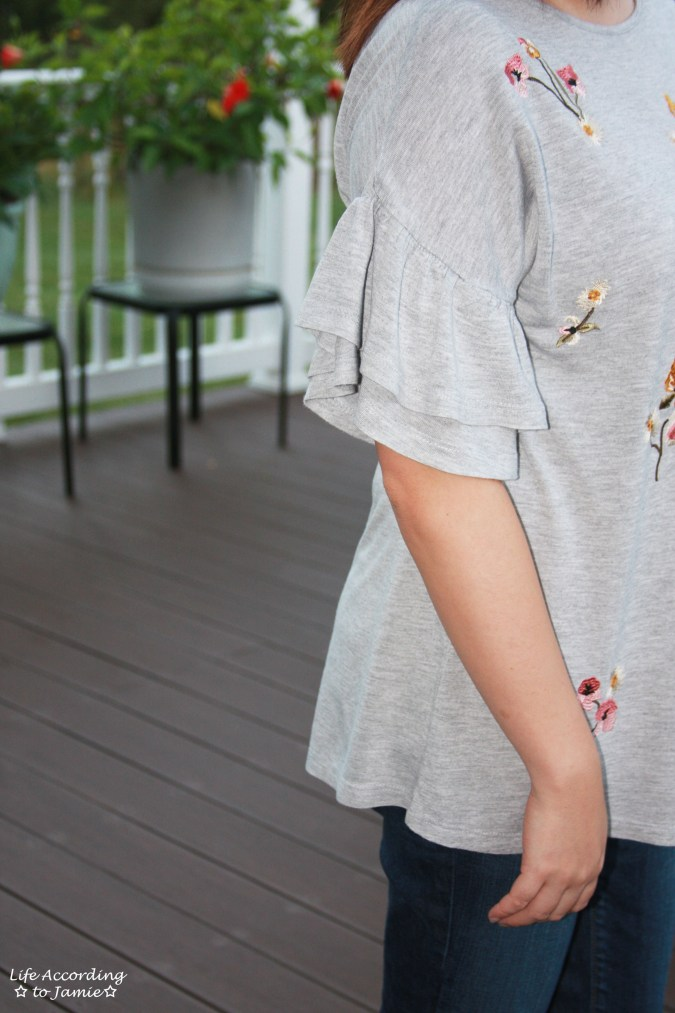 Floral Embroidered Ruffle Sleeve Top 10
