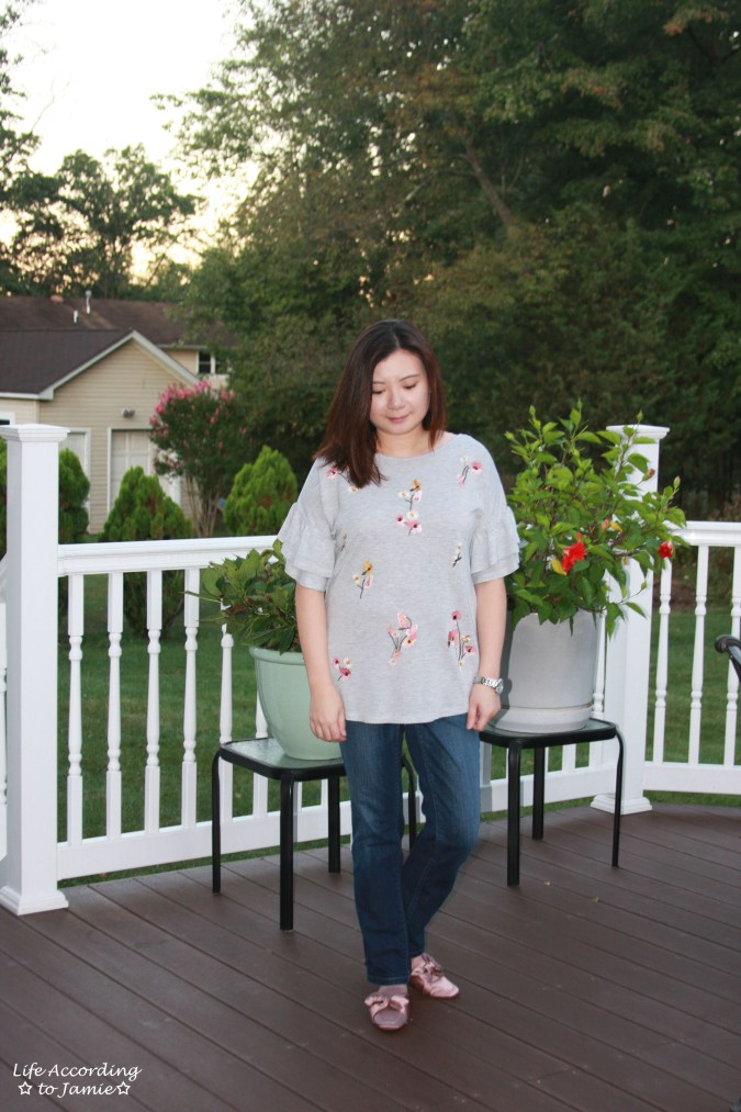 Floral Embroidered Ruffle Sleeve Top 7
