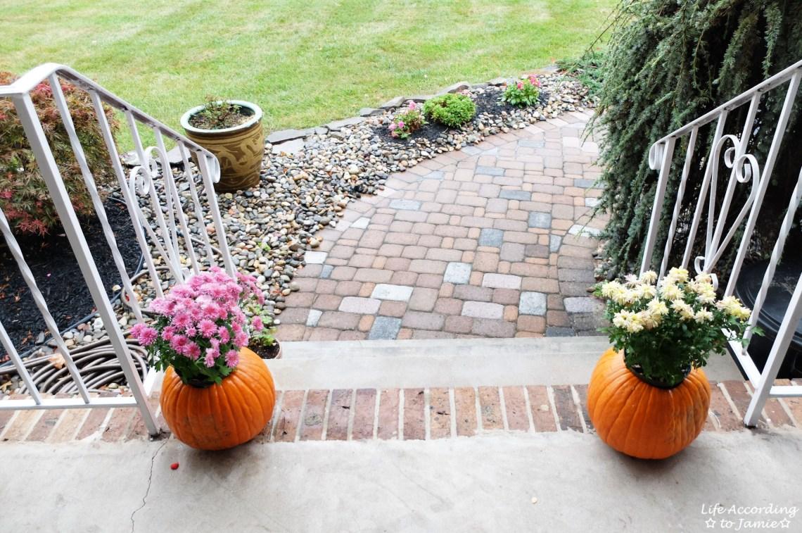 Pumpkin Planter + Mums