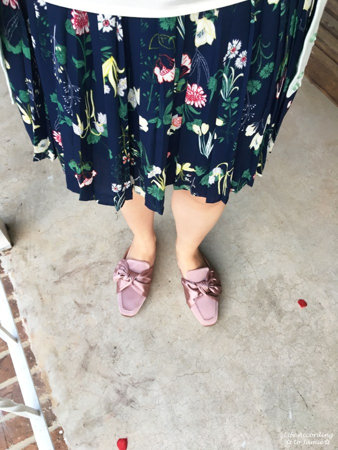 Satin Bow Mules + Floral Pleated Skirt 1