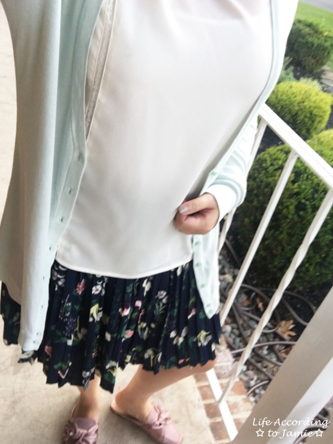 Satin Bow Mules + Floral Pleated Skirt 2