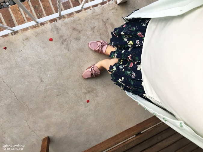 Satin Bow Mules + Floral Pleated Skirt