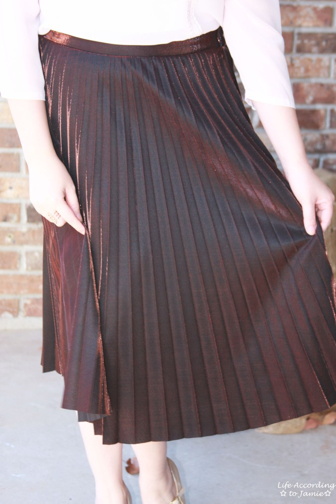 Copper Metallic Pleated Midi Skirt 10