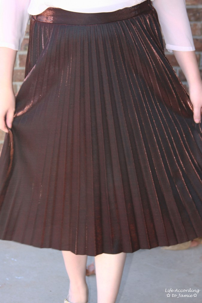 Copper Metallic Pleated Midi Skirt 11