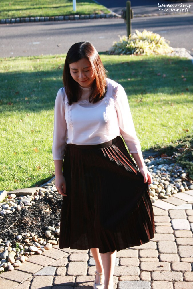 Copper Metallic Pleated Midi Skirt 12
