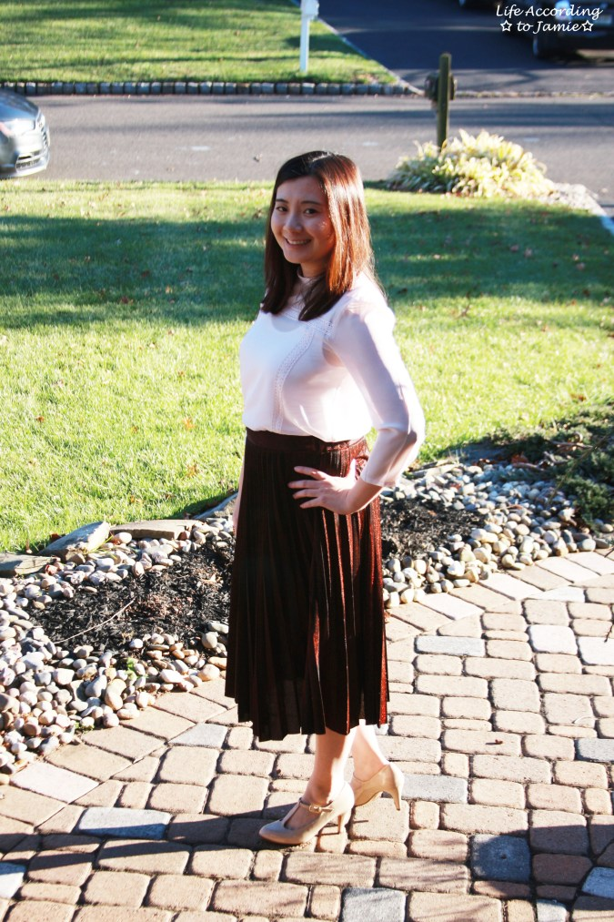 Copper Metallic Pleated Midi Skirt 14