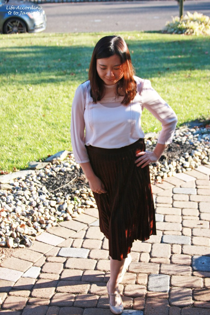 Copper Metallic Pleated Midi Skirt 15