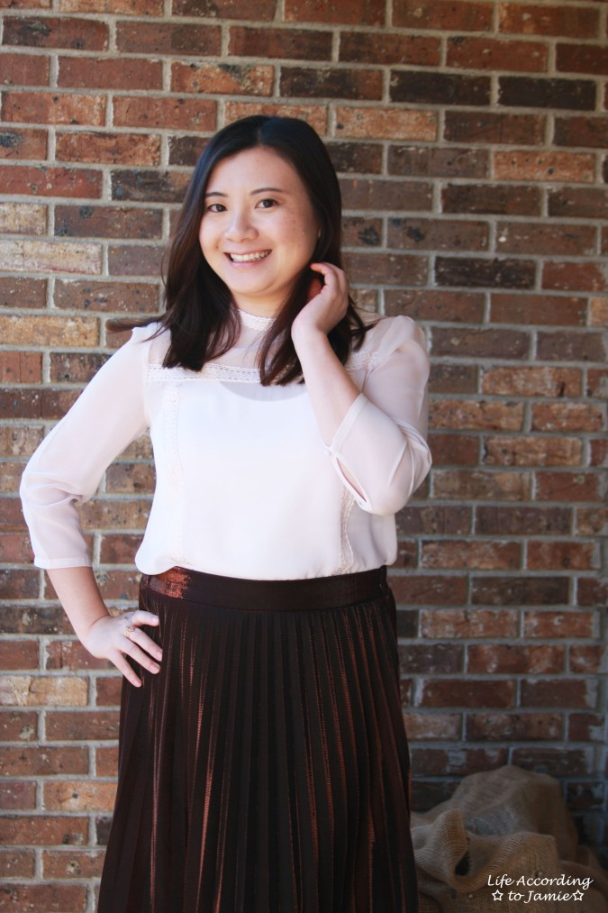 Copper Metallic Pleated Midi Skirt 6