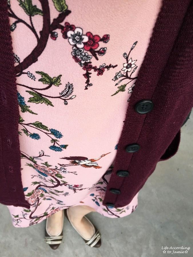 High-Neck Pink Floral Dress 3