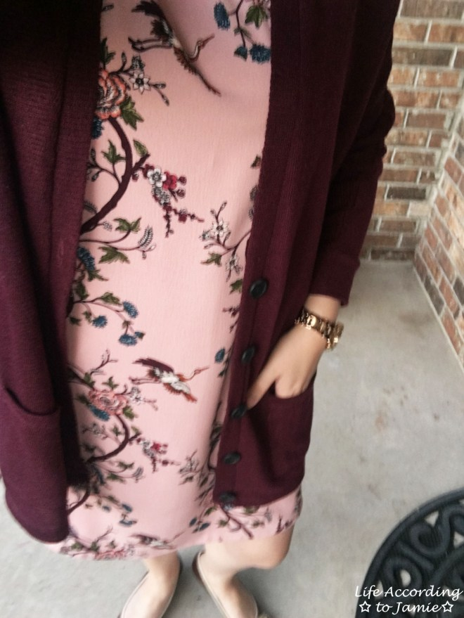 High-Neck Pink Floral Dress 4