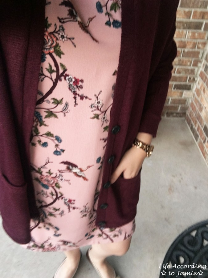 High-Neck Pink Floral Dress 4