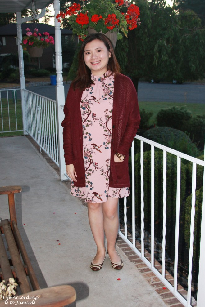 High-Neck Pink Floral Dress 6
