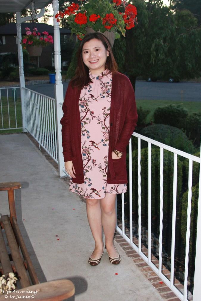 High-Neck Pink Floral Dress 6