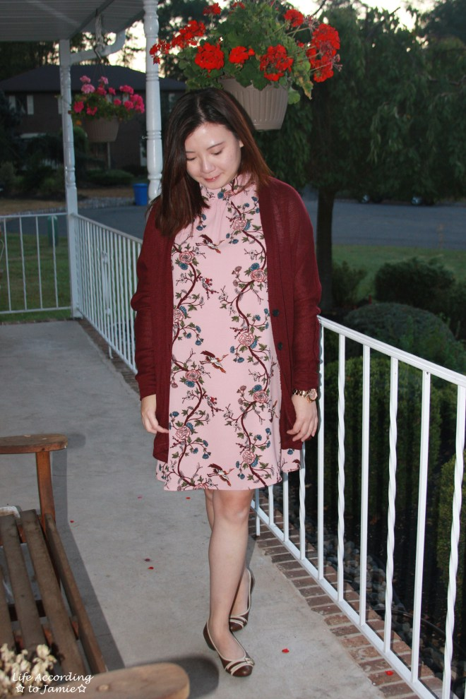 High-Neck Pink Floral Dress 7