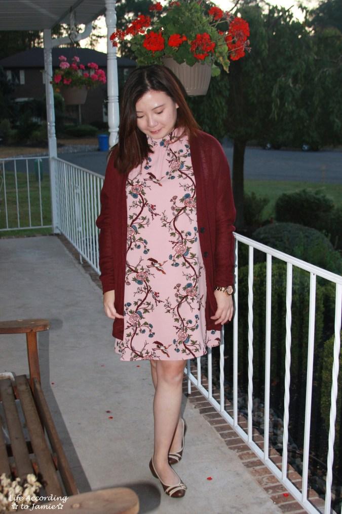 High-Neck Pink Floral Dress 7