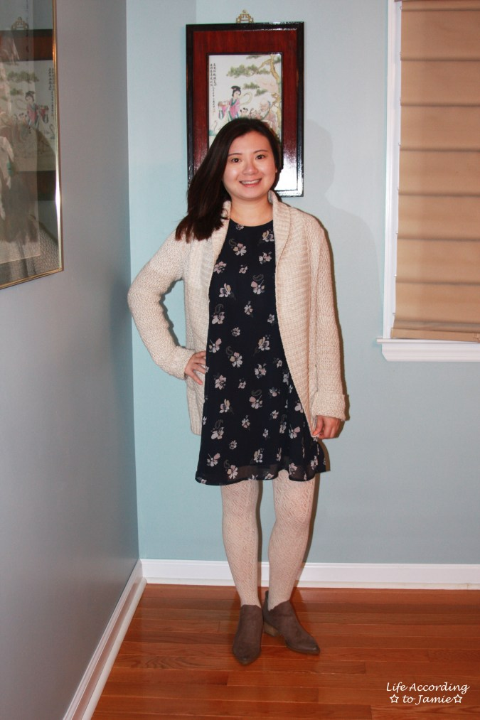 Printed Swing Dress + Chunky Cardigan 5