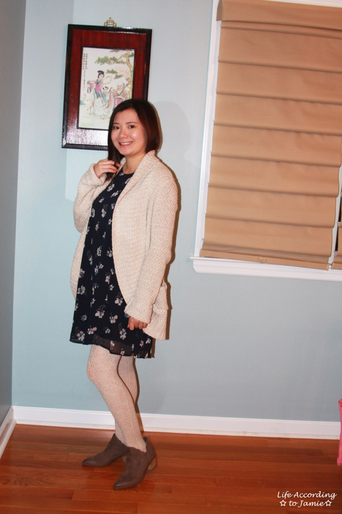 Printed Swing Dress + Chunky Cardigan 8