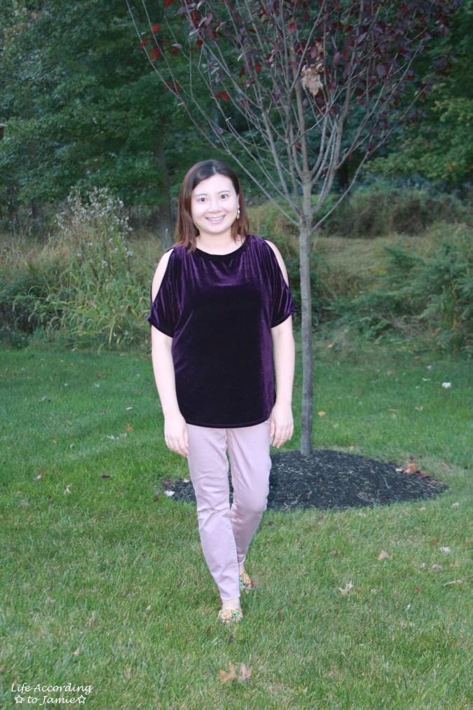 Purple Velvet Cold Shoulder 11