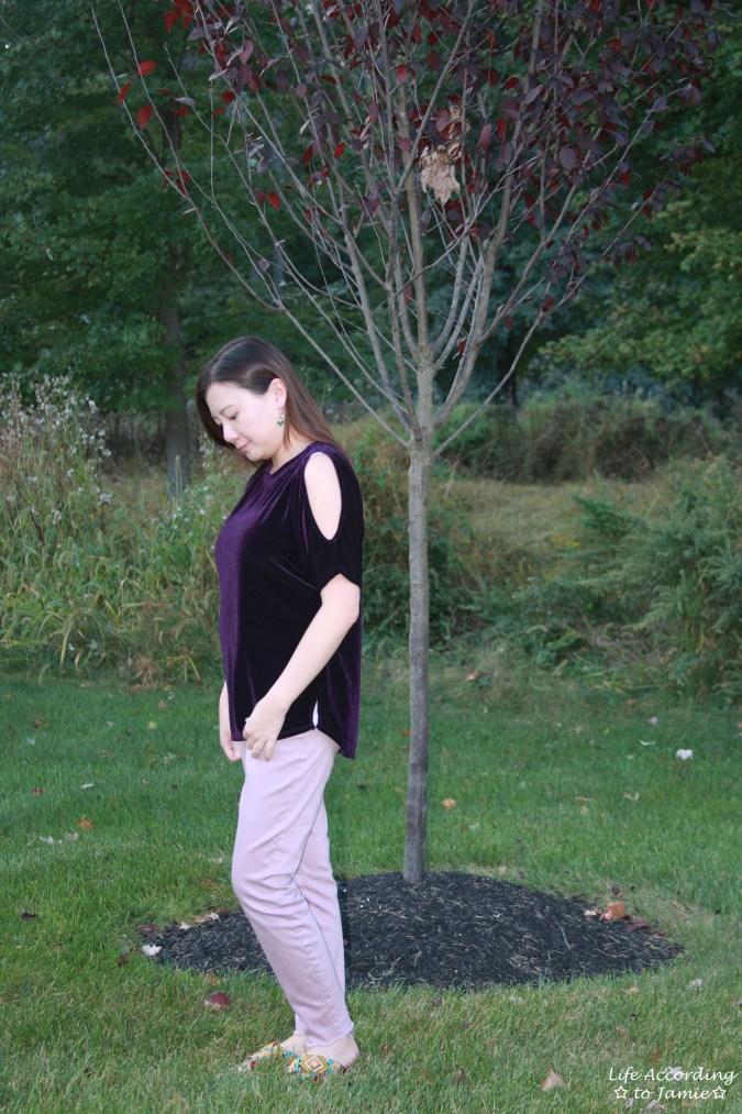 Purple Velvet Cold Shoulder 6