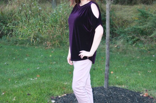 Purple Velvet Cold Shoulder