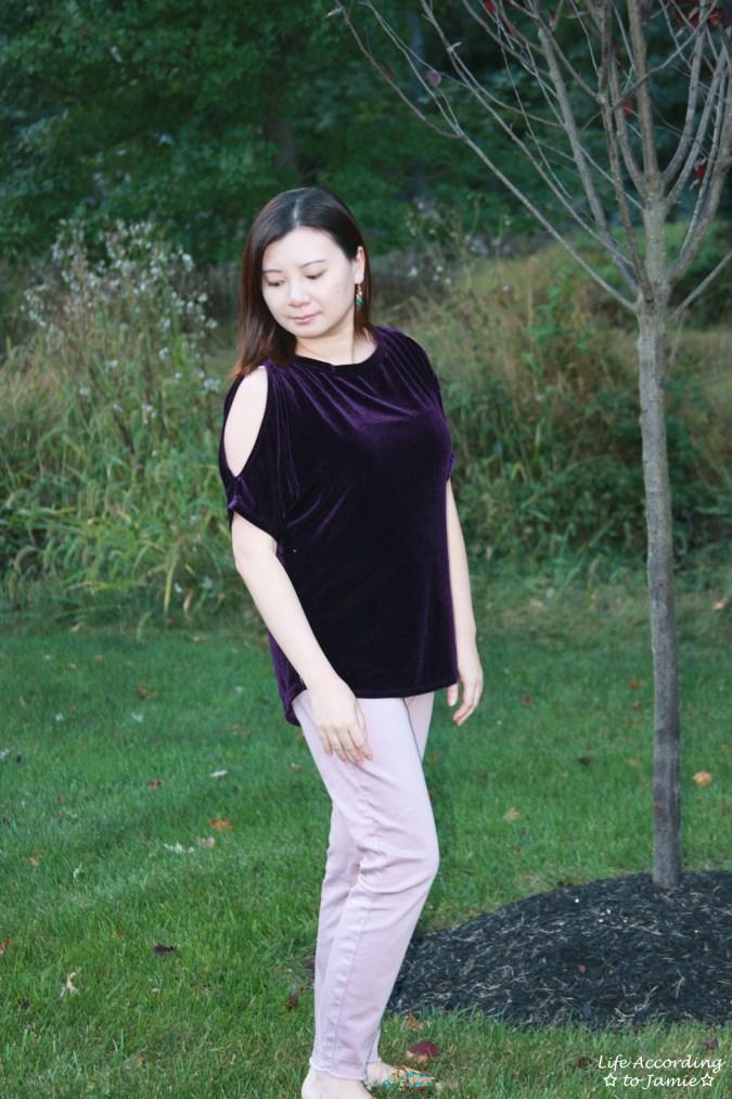 Purple Velvet Cold Shoulder 9