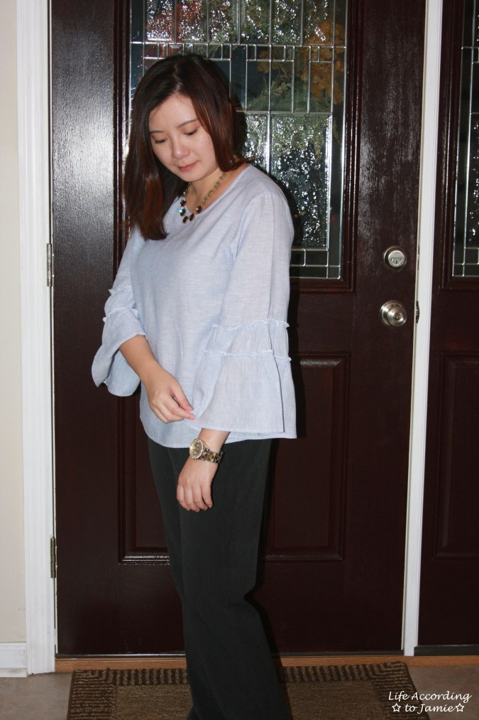 Ruffle Sleeve Blouse + Ombre Stone Necklace 5