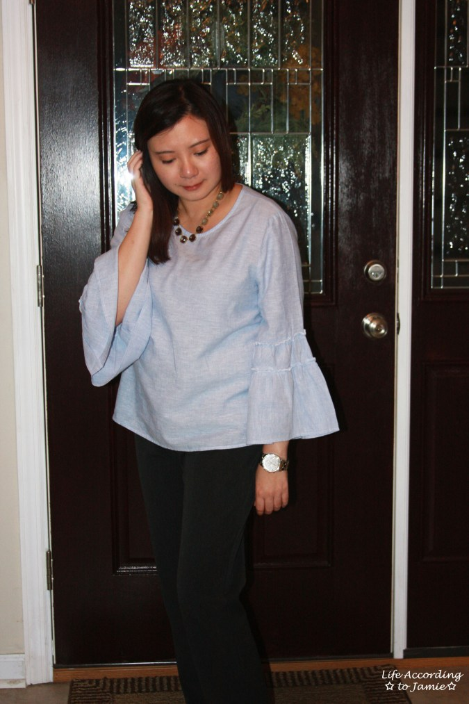 Ruffle Sleeve Blouse + Ombre Stone Necklace 6