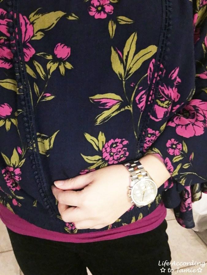 Floral Lace Smocked Hem Blouse 1
