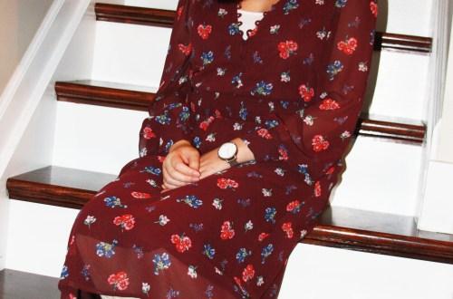 Floral Smocked Waist Midi Dress