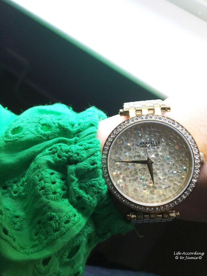 Green Broderie Lace + Caravelle Watch