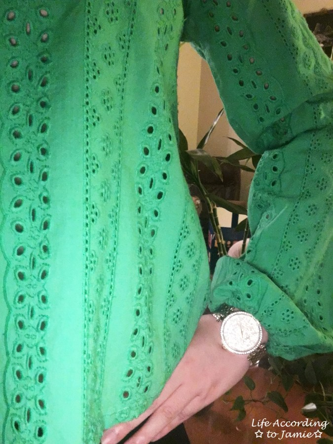 Green Broderie Lace Smock Top 1