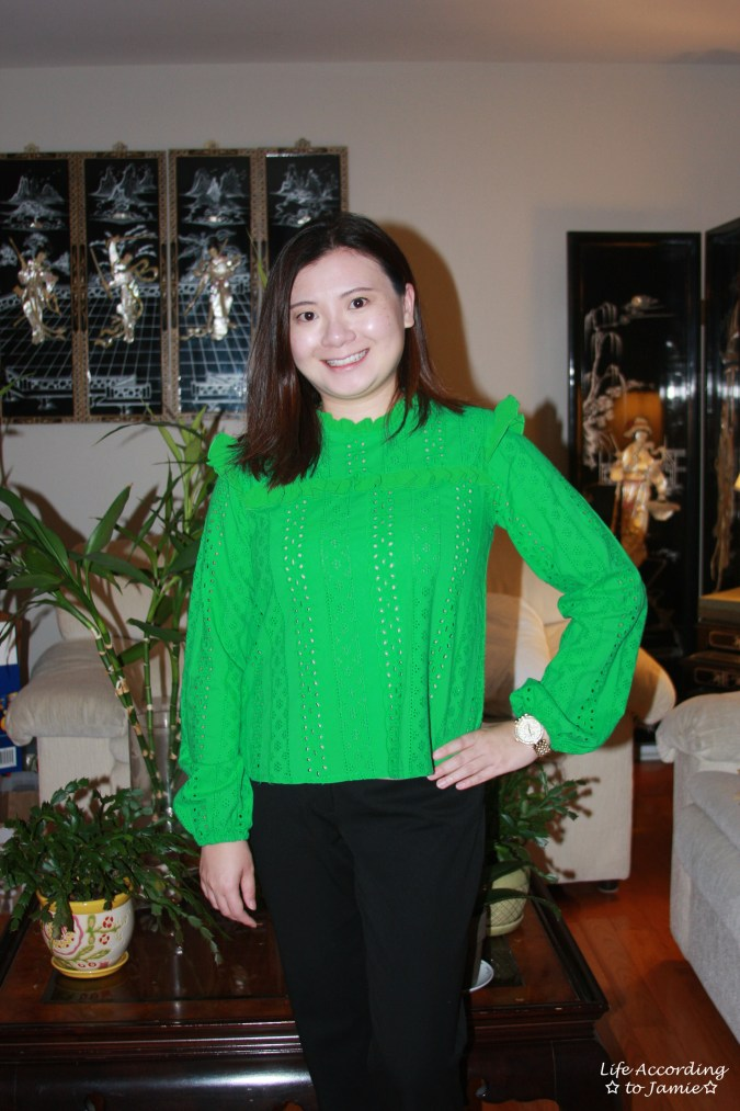 Green Broderie Lace Smock Top 3