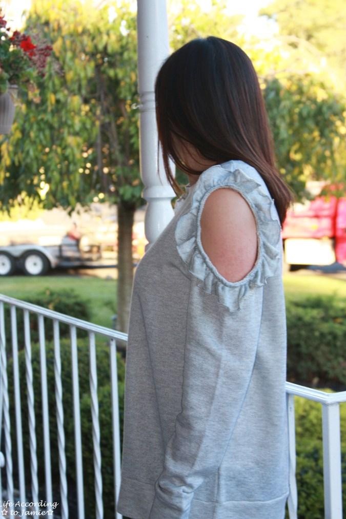 Grey Ruffle Trim Cold Shoulder Sweatshirt 12