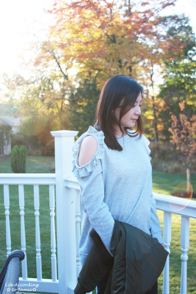 Grey Ruffle Trim Cold Shoulder Sweatshirt 13
