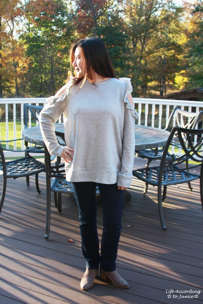 Grey Ruffle Trim Cold Shoulder Sweatshirt 2