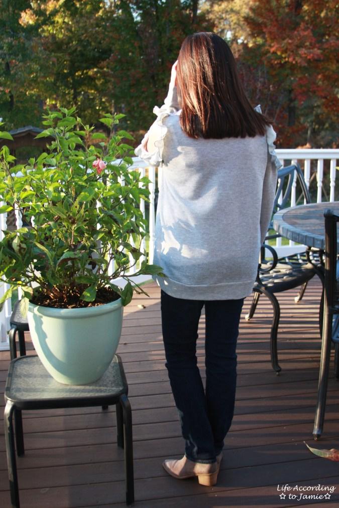 Grey Ruffle Trim Cold Shoulder Sweatshirt 3