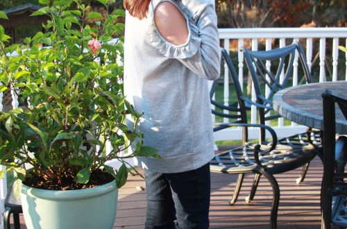 Grey Ruffle Trim Cold Shoulder Sweatshirt
