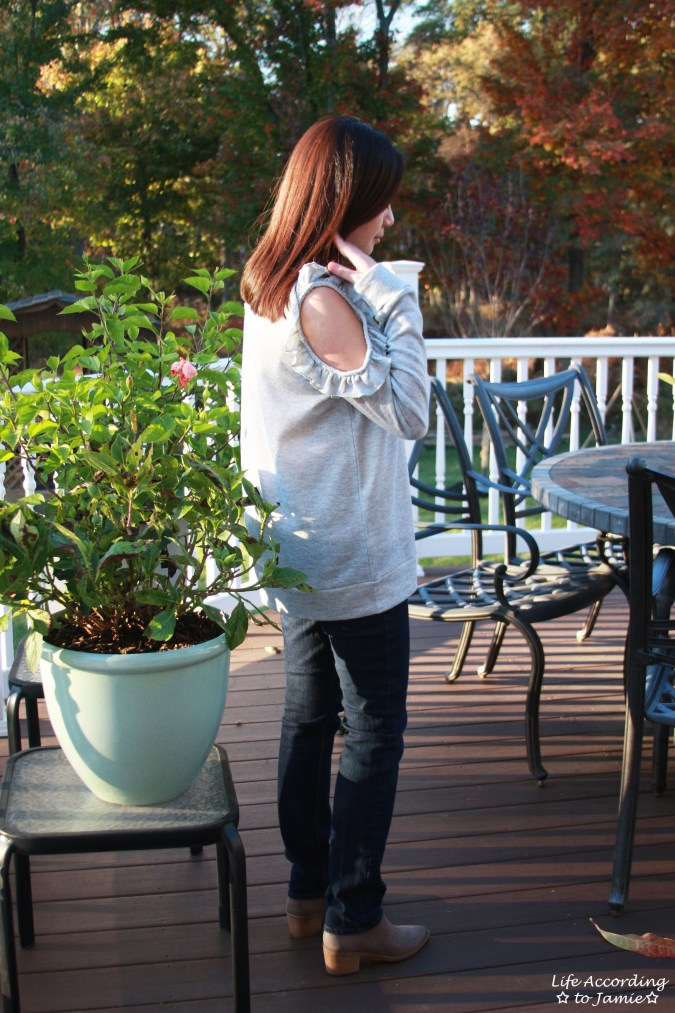 Grey Ruffle Trim Cold Shoulder Sweatshirt 5