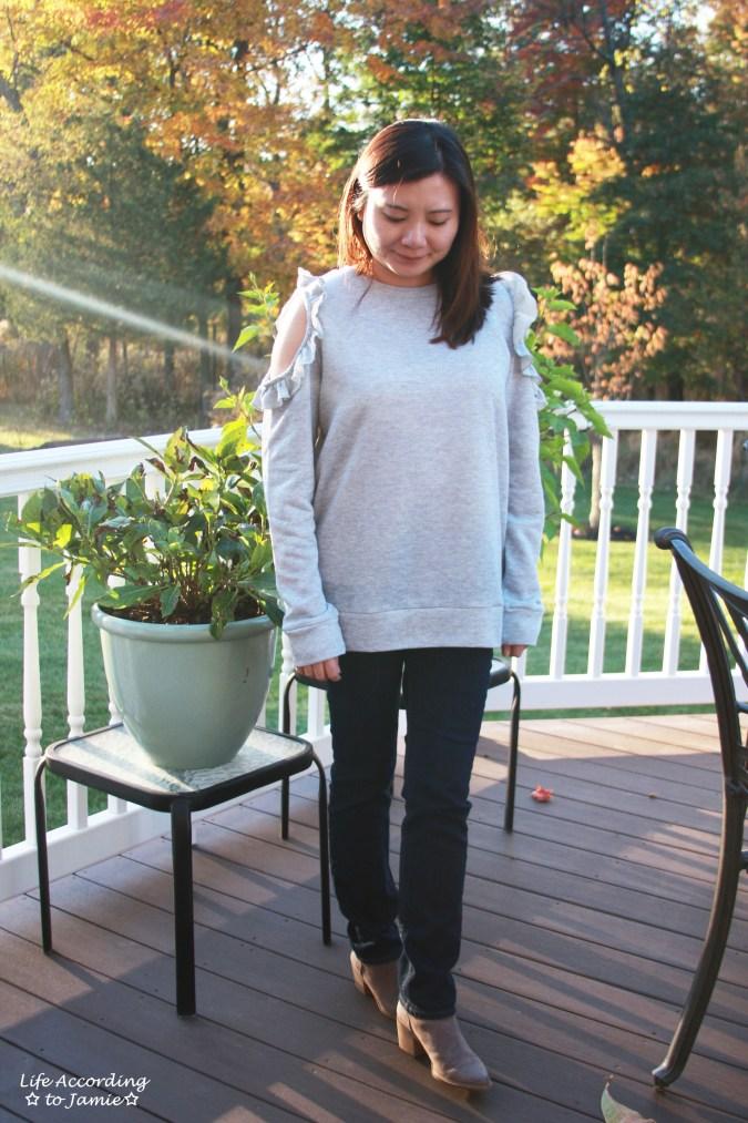 Grey Ruffle Trim Cold Shoulder Sweatshirt 7