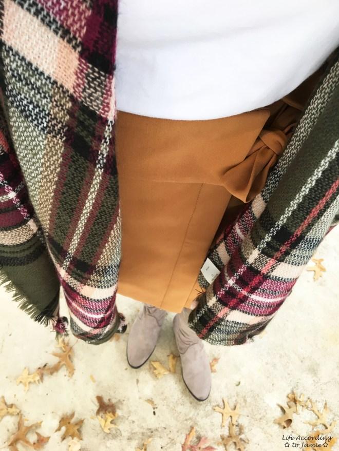 Olive Green Plaid Ruana + Foldover Wrap Skirt 11
